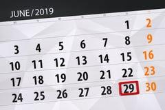 Planificateur de calendrier pour mois en juin 2019, jour de date-butoir, 29, samedi photographie stock libre de droits