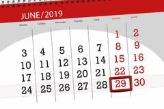 Planificateur de calendrier pour mois en juin 2019, jour de date-butoir, 29, samedi image libre de droits