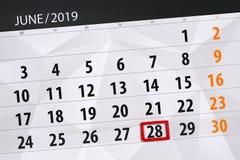 Planificateur de calendrier pour mois en juin 2019, jour de date-butoir, 28, vendredi photos libres de droits