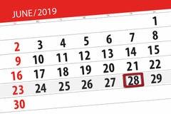 Planificateur de calendrier pour mois en juin 2019, jour de date-butoir, 28, vendredi photographie stock