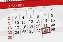 Planificateur de calendrier pour mois en juin 2019, jour de date-butoir, 28, vendredi images libres de droits