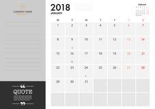 Planificateur 2018 de janvier sur le fond blanc pour l'organisation et les Bu Photo stock