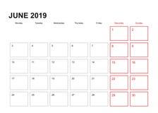 Planificateur de mur pour juin 2019 dans l'anglais, débuts de semaine dans lundi illustration stock