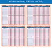 Planificateur 2040 de vacances de personnel illustration libre de droits