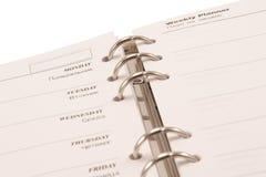 Planificateur hebdomadaire (d'isolement) Images stock