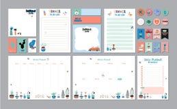 Planificateur hebdomadaire et quotidien scandinave illustration stock