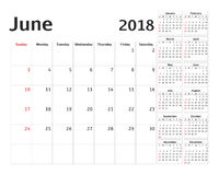 Planificateur simple de calendrier pendant 2018 années Photo stock