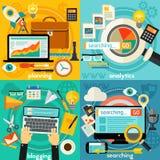 Planification, Blogging, recherche de Web et concept d'Analytics Image libre de droits