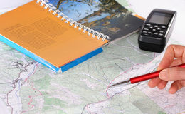 Planification de l'aventure images stock