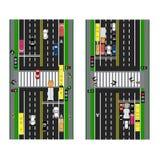 Planification de route routes, rues et feux de signalisation avec la transition Trottoirs d'image, ruelles de transition pour le  Photos libres de droits
