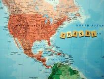 Planification de voyage sur le fond de carte Image libre de droits