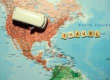 Planification de voyage sur le fond de carte Photographie stock