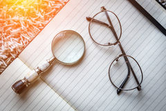 Planification des affaires avec l'espace de copie et des fournitures de bureau Photo libre de droits