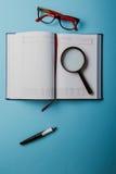 Planification des affaires avec l'espace de copie et des fournitures de bureau Image stock