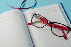 Planification des affaires avec l'espace de copie et des fournitures de bureau Images libres de droits