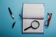 Planification des affaires avec l'espace de copie et des fournitures de bureau Image libre de droits