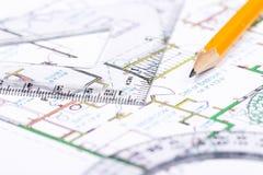 Planification pour construire une maison images libres de droits