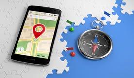 Planification pour la direction de voyage par l'intermédiaire du mobile Photographie stock