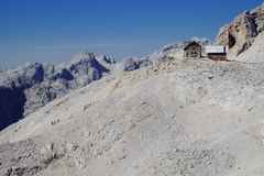 Planika hut under Mt. Triglav. In Julian alps Royalty Free Stock Images