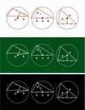 Planimetria. okrąg i trójbok Obraz Royalty Free