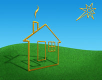Planimetric gold small house. Illustration of a planimetric small house against a grass and the sky Stock Photography