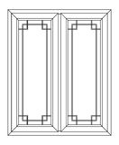 Planimetric window. Figure of planimetric two folding windows with an allocation Royalty Free Stock Photos