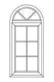 Planimetrisches Bogenfenster Stockfotos