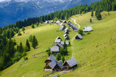 Planina zajamniki. Shepherd huts at Planina zajamniki, Pokljuka, Julian Alps Stock Photography