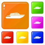 Planing powerboat icons set vector color. Planing powerboat icons set collection vector 6 color isolated on white background stock illustration