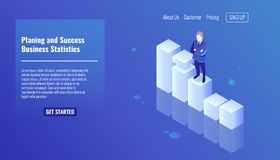 Planing and success concept, business statistics, business man stay on growth graphics, business concept, man in a. Business suit isometric vector Royalty Free Stock Image