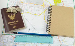 Planing travel with passport textnote and map Stock Images