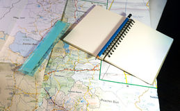 Planing travel with textnote and map Royalty Free Stock Images