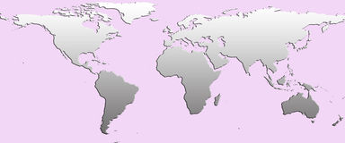 Planisphere. Greycontinent and pink ocean planisphere Royalty Free Stock Photos