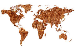 World map. A planisphere or map of the world on a background of straw or hay for organic farming Stock Image