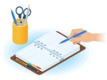 Planista, ręka z piórem, desktop organizator Płaski isometric il ilustracja wektor