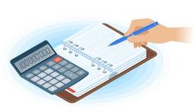 Planista, ręka z piórem, matematyka kalkulator Płaski isometric illu ilustracja wektor