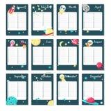 Planisty kalendarzowy wektorowy szablon z astronautycznymi zwierzętami royalty ilustracja
