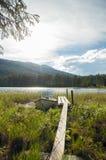 Plank aan het meer Stock Fotografie