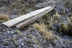 Plank across melioration stream during winter Royalty Free Stock Photography