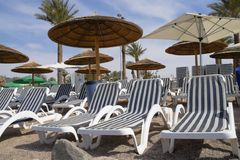 Plank beds and umbrellas on beach royalty free stock photos