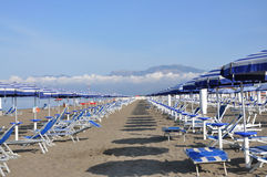 Plank beds and umbrellas on a beach. Canopies and plank beds are located by numbers on a beach Stock Photos