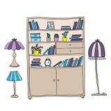 Plank en lampen - ontwerpelementen Stock Afbeeldingen