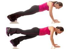 Plank Exercise. Plank abdominal exercise. Studio shot over white stock image