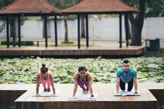 Plank exercise. Group of Vietnamese young people doing plank together outdoors stock photography