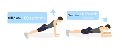 Plank exercise for men. Plank exercise for men on white background. Elbow plank and straight plank. Healthy lifestyle Stock Photos