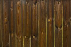 Plank fence. Fence from old wet planks with gaps between planks Stock Image