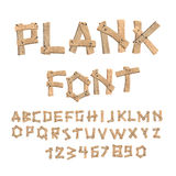 Plank font. Wooden table alphabet. Old boards with nails ABC. le Royalty Free Stock Photography
