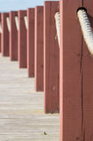 Plank footpath and fence boundary rope barrier closeup Stock Images
