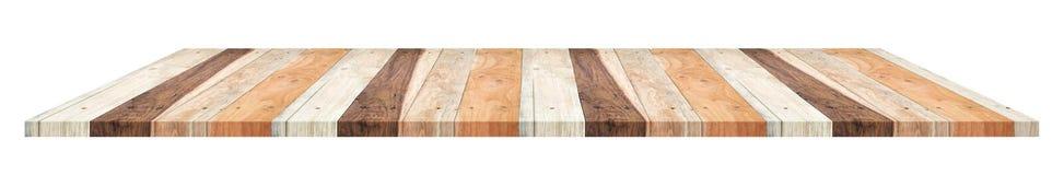Plank houten lijst in tropische die stijl op witte backgroun wordt geïsoleerd Royalty-vrije Stock Foto's