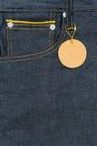 Plank leather label on pocket blue jean denim. Plank leather label on pocket blue jean denim with copy space Stock Photo